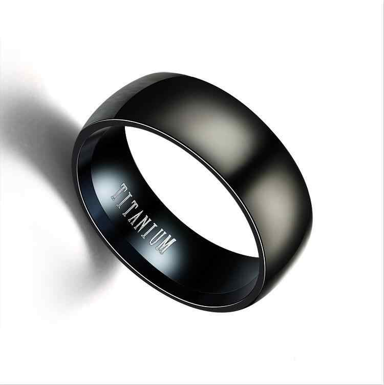 1PCS New Black Men Ring 100% Titanium Carbide Men's Jewelry Wedding Bands Classic Boyfriend Gift Fashion Jewelry Rings