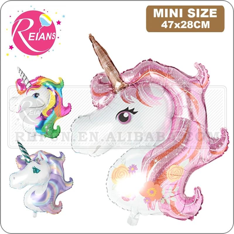 Mini Baby Shower Favor Birthday Party Children Animal Unicorn Head Balloon Decor Rainbow Party Supplies Wedding Child Toy Mini Unicorn Head Purple