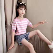 Striped Knit T Shirts For Baby Big Girls Half Sleeve O-neck Tops Clothing 8 10 12 14 Y Kids Summer Tees Clothes Children T Shirt navy basic knit round neck t shirts