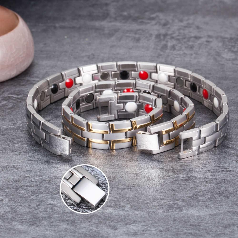 Kesehatan Magnetic Gelang Pria Stainless Steel Band Pergelangan Tangan Gelang Magnet Pria Hand Rantai Energi Gelang untuk Pria Dropshipping
