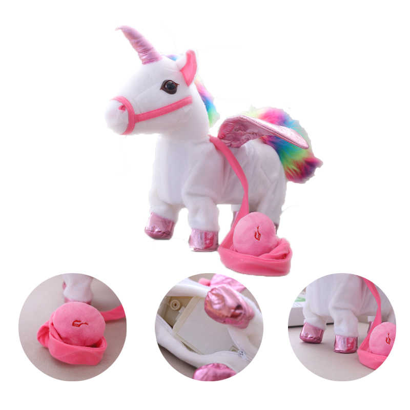 Electric plush toy Unicorn can sing walk horse is called rope flying horse doll electronic pet horse toy