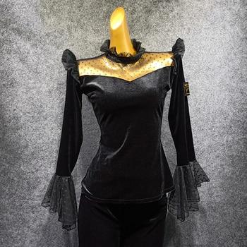 New Women'S Dance Costume Latin Dance Top Gitba Salsa Modern Dancing Performance Outfit Trumpet Sleeve Velvet Top Latin Top 1426