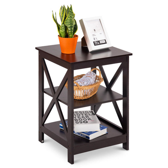 Costway 2PC 3-Tier Nightstand End Table  3