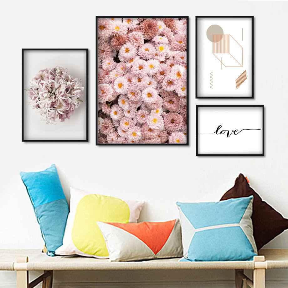 Фото Цветок Хризантема Минималистичная художественная стена с цитатой холст