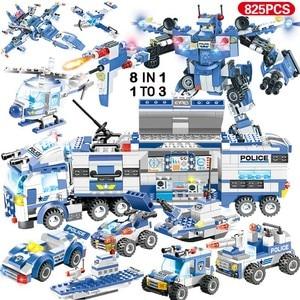 Image 4 - 1122pcs 8IN1 SWAT בניין תחנת המשטרה עיר בלוקים תואם טכני רכב משאית בורא לילדי בני מתנות