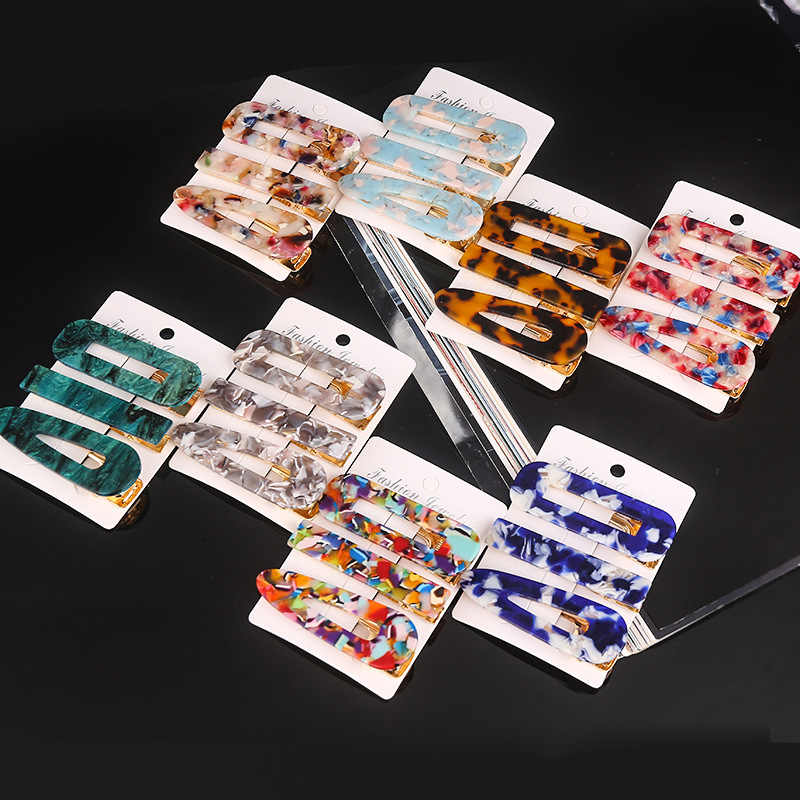2PCS Acrylic Acetate Geometric Hair Clip Hairpins Barrettes Hair Accessories Kit