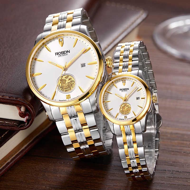 ROSDN Limited montres femme marque de luxe japon montre mécanique automatique 24K or Design 50M Waterpoof Couples montre R2163W