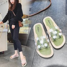 Slippers for Women in Summer Fashion Outside New Tourist Baitao Flat-soled Beach Sandals One-word White Shoes