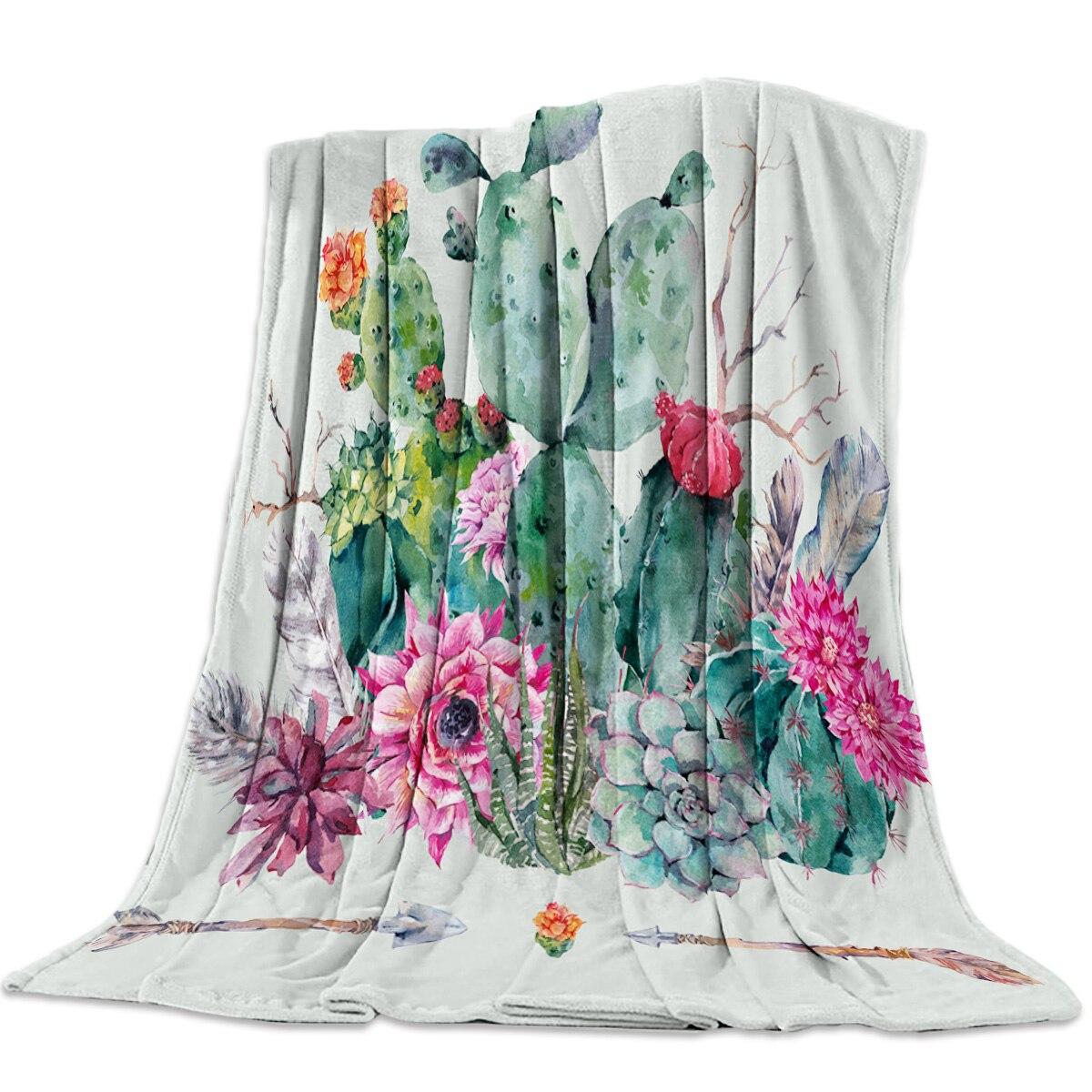 Flannel Blankets Cactus Flower Green Blanket Cushion Warm Throws on Sofa Bed Home Bedspread Travel Fleece Blanket|Blankets|   - AliExpress