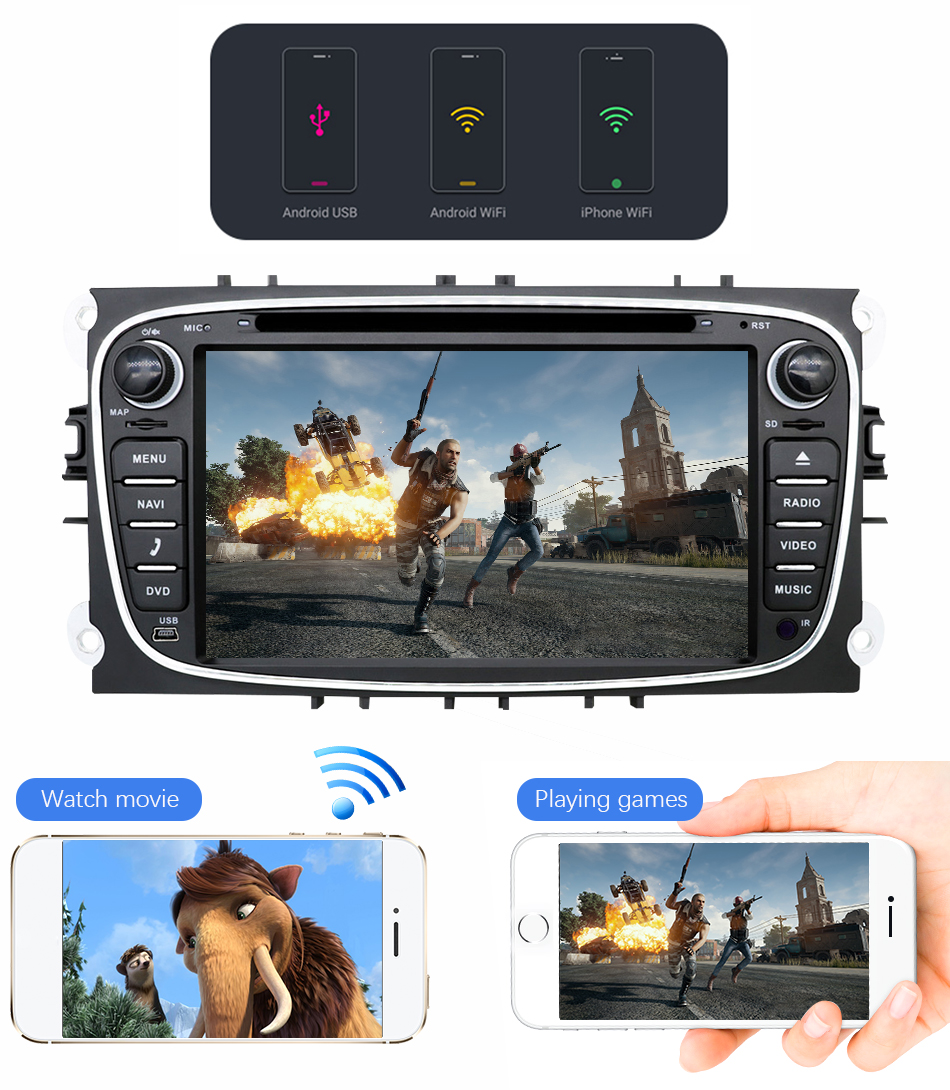 Cheap Eunavi 2 din Android 9.0 Car DVD Radio Multimedia GPS for FORD Focus Mondeo S-MAX C-MAX Galaxy 4G 64G IPS DSP TDA7803A head unit 18