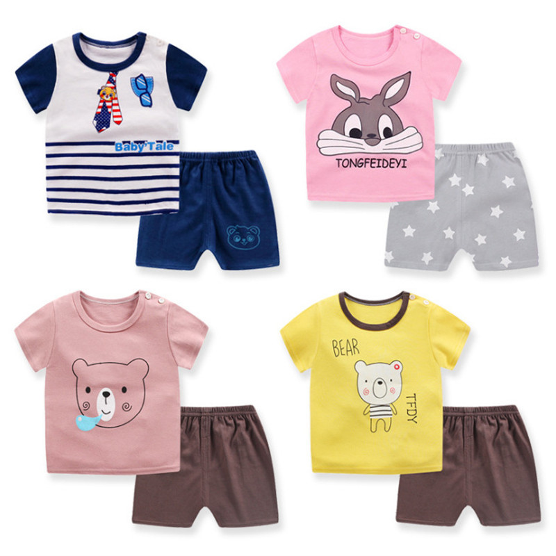 Toddler Baby Clothing Sets Summer Cool Soft Printed Cotton Kids Suits Kids Infant Shorts And Tshirt Tops 2pcs Outfits A0098