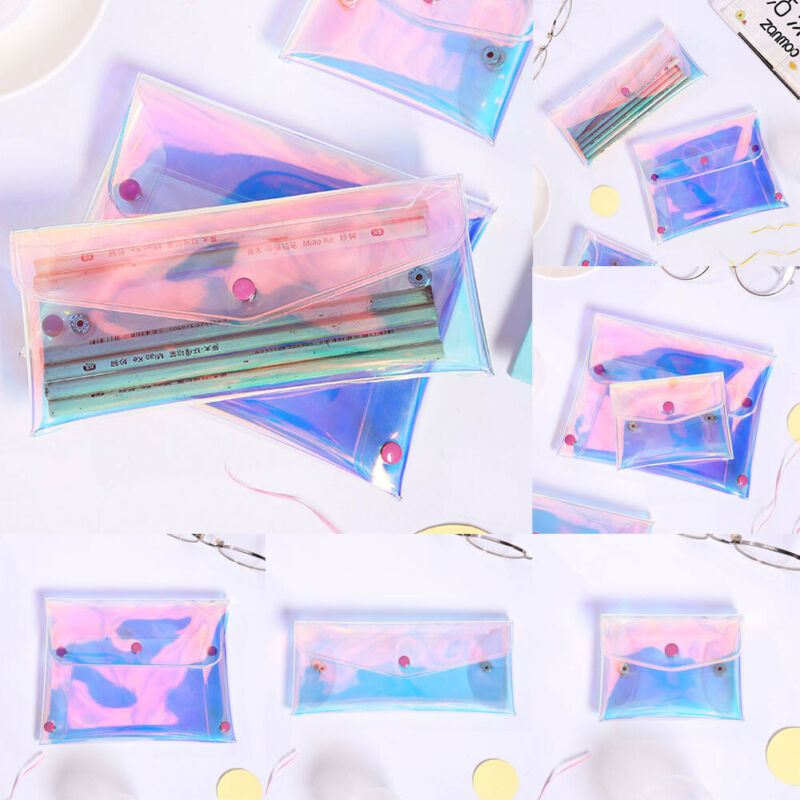 1PC New Women Colorful Holographic Laser Makeup Bag Mini Fashion Cosmetic Bags Different Sizes Transparent Buckle Presses Clutch