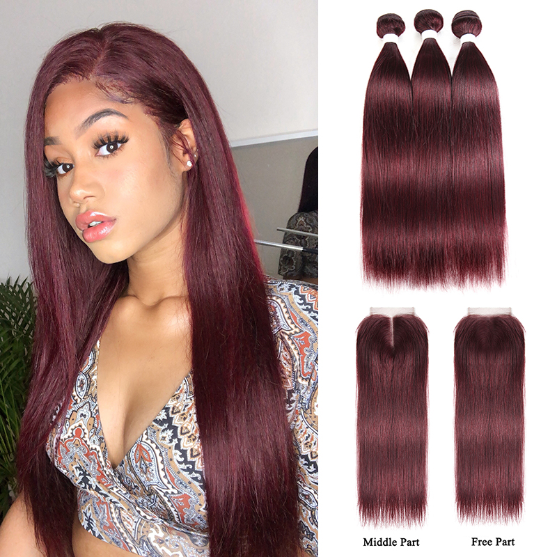 99J/Burgundy Human Hair Bundles With Closure 4x4 KEMY HAIR Brazilian Straight Red Color Hair Weave Bundles With Closure Non-Remy