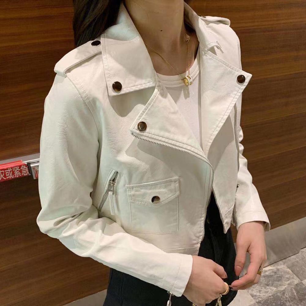 2019 New Arrival Women Autumn Winter Faux Soft   Leather   Jackets & Coats Office Lady Long Sleeve Green Black PU Zipper Streetwear