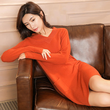 2019 new cashmere sweater fashion winter autumn Womens Casual Long Sleeve Jumper V neck Sweaters Dress