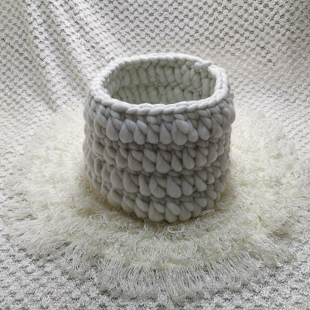 Dégagement 150*100cm tricoté acrylique mince tissu toile de fond couverture + panier tricoté + 50cm rond crocheté couverture pour nouveau-né Shoot