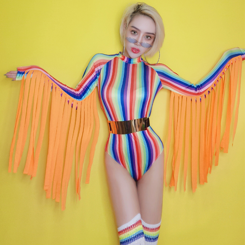 Nightclub Sexy Colorful Striped Tassel Jumpsuit Festival Outfit Rave Clothes Female Adult Singer Dj Bodysuit Stage Wear DN4224