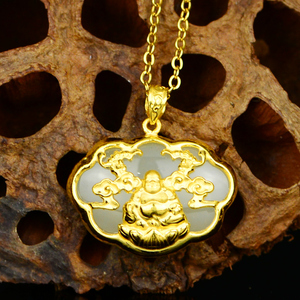 Image 3 - Gold plated  Baby Golden Long Life Lock Pendant  Jade Zodiac Pendant Buddha Gong Necklace