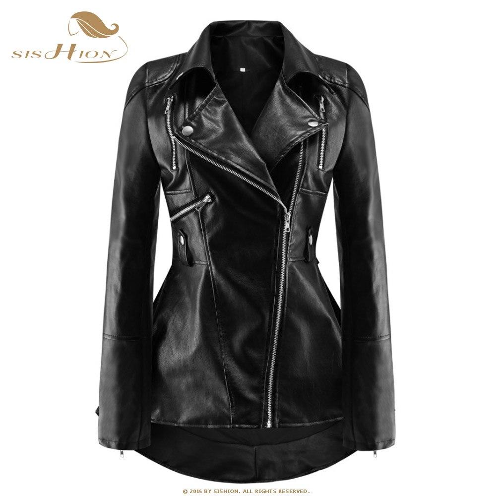 SISHION/осенние черные Куртки из искусственной кожи pu, женские мотоциклетные пальто в стиле панк рок, QY0393, Длинные куртки с рюшами, верхняя одеж