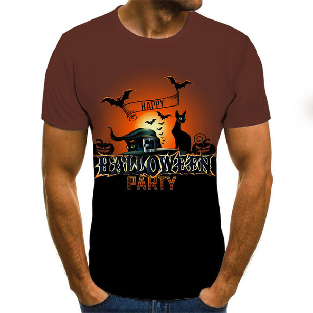 Harajuku Pumpkin Print T Shirt Halloween O-Neck Short Sleeve T-shirt Women And Men Streetwear Tops  3d Print T Shirt
