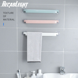 Self-Adhesive Bathroom Towel Bar Wall-Mounted NO Drilling Plastic Kitchen Towel Hanging Rack Holder Saving Space Easy To Install
