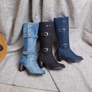 Image 4 - ORCHA LISA Dame schoenen westerse chunky laarzen blauw jeans doek mid kalf laarzen vierkante hakken rits gesp denim schoenen vrouwen big size