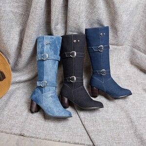 Image 4 - ORCHA リサ女性の靴西洋分厚いブルージーンズ布ミッドカーフブーツスクエアハイヒールバックルデニム靴女性ビッグサイズ