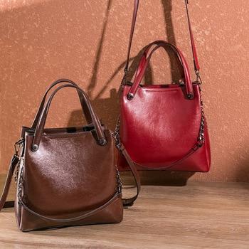 Vintage Oil Wax Leather Ladies Handbags Large Capacity Female Shoulder Crossbody Bags For Women Tote Bag Designer Bolso Mujer