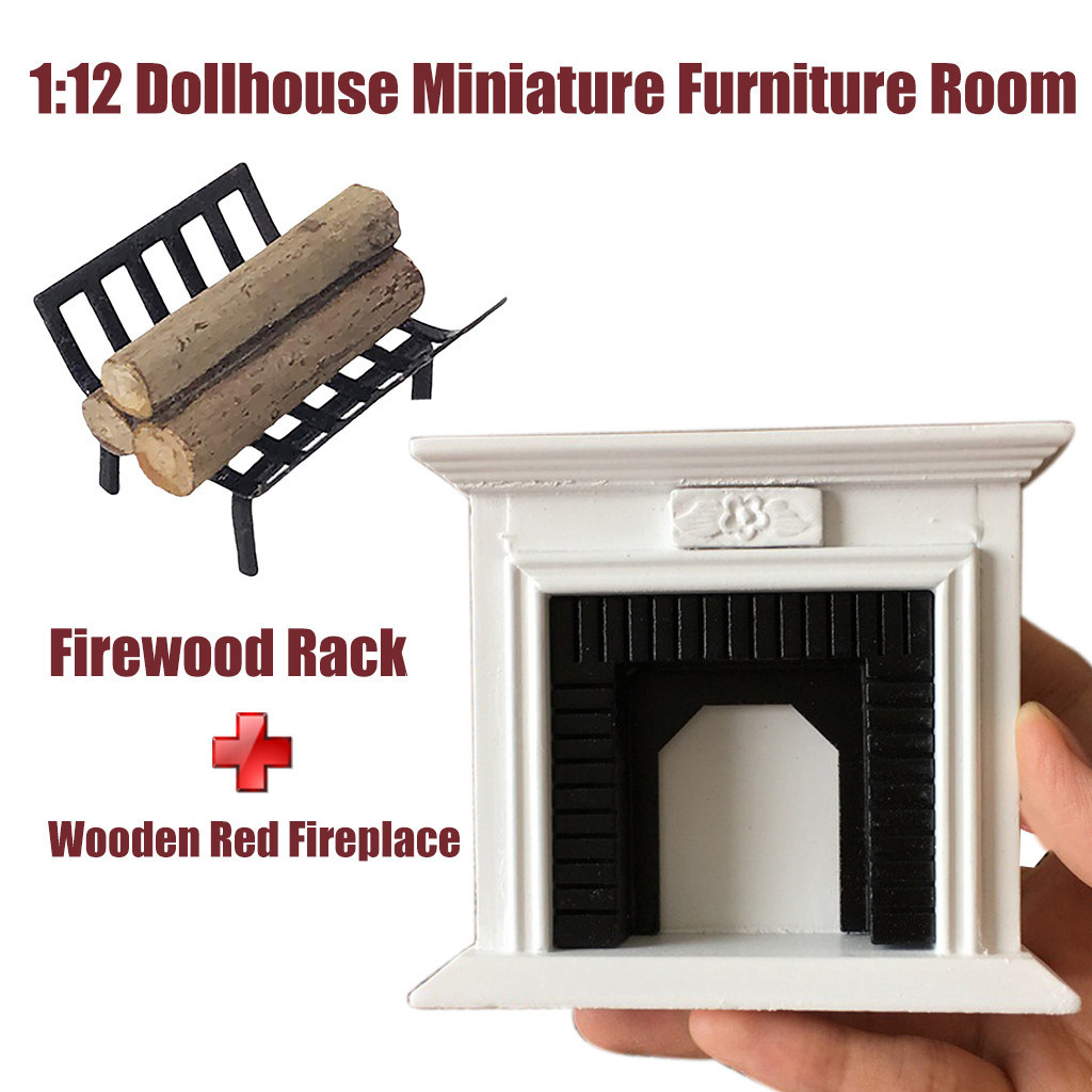 1:12 Dollhouse Miniature Furniture Wooden Vintage Fireplace + Firewood Rack Accessories Kids Toys Juguetes Brinquedos игрушки