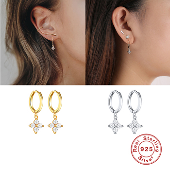 2020 Real Small 925 Sterling Silver Hanging hoop Earrings For Women Lightning honeybee Eye Animal Charm Small hoop Earring A30
