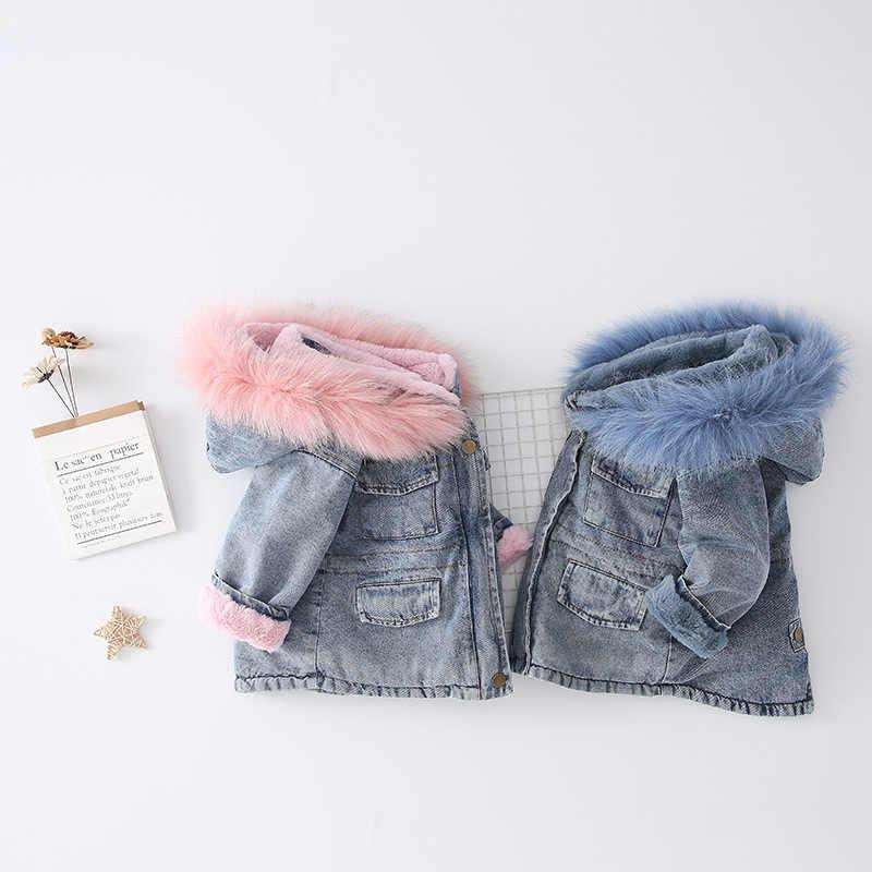 Winter Baby Meisje Denim Jasje Plus Fluwelen Dikker Echt Bont Outfit Warm Peuter Meisje Hooded Bovenkleding Jas Kids Koude Winter parka