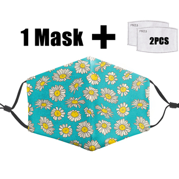 Yellow Chrysanthemum Big Mouth Printing Mask Pm2.5 Reusable Filter Adult Mask Dust Face Masks Washable Proof Bacterial Flu Mask