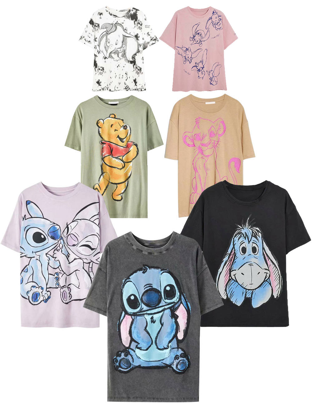 T-Shirt Fashion Tee-Tops Stitch SIMBA Mickey Mouse Fairy Pooh Winnie Family Cartoon Print
