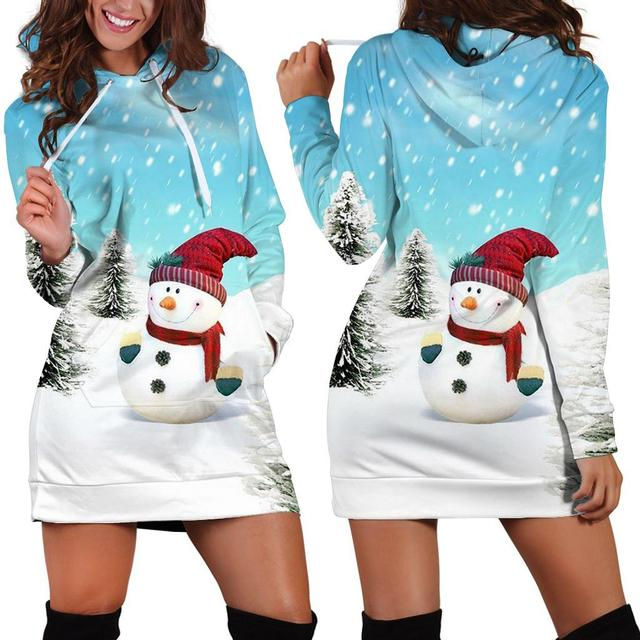2019 autumn and winter polar sportswear high quality women's Harajuku printed snow snowman kawaii dress 1