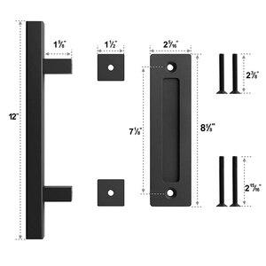 Image 5 - פחמן פלדה הזזה אסם דלת למשוך ידית עץ דלת ידית שחור ידיות דלתות הפנים ידית