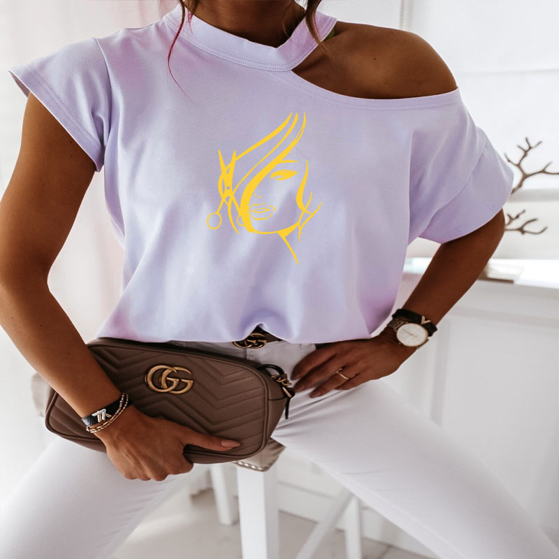 Women Tshirt Summer Off Shoulder Sleeve Hipster Hairdresser Stylist Scissors Print Tee Shirt Femme Harajuku T Shirt Women Tops