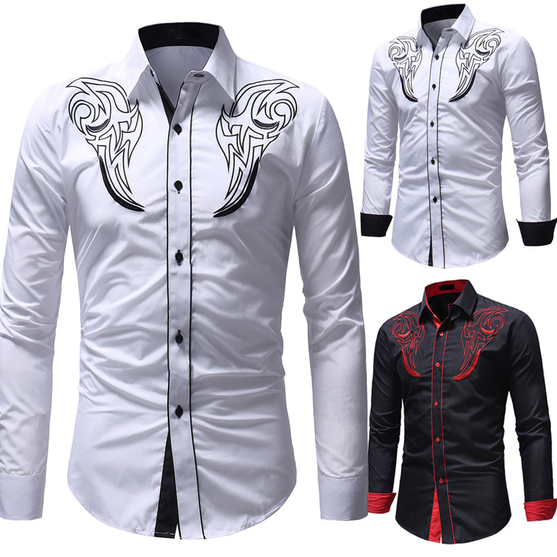 2018 Autumn New Style Men'S Wear Classic Totem Embroidery Shirt Coat Men's Casual Slim Fit Long-sleeved Shirt 5245