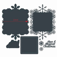 Christmas Snowflake Square Frame Magical Words  Metal Cutting Dies Scrapbooking Paper DIY Cards Crafts Embossing New 2019