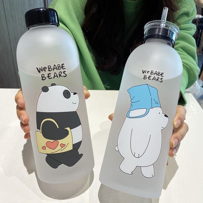 1000 мл прозрачная пластиковая бутылка кунг-фу Панда Мультяшные матовые бутылки для воды герметичная посуда для напитков Милая Студенческая ...