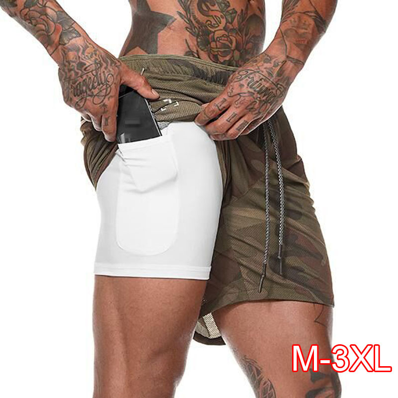 Men's 2 In 1 Running Shorts Hidden Pockets Outdoor Shorts Quick-Drying Sports Shorts Fitted Hiden Pockets Hiden Zipper