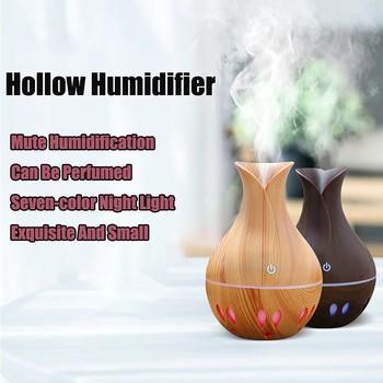 USB Mini nawilżacz przenośne powietrze zapachowy olejek eteryczny dyfuzor ziarna drewna LED Aroma nawilżacz z funkcją aromaterapii dla home office tanie i dobre opinie CN (pochodzenie) 10cm Evaporative Humidifier Mist Discharge Aromatherapy Household Classic Columnar