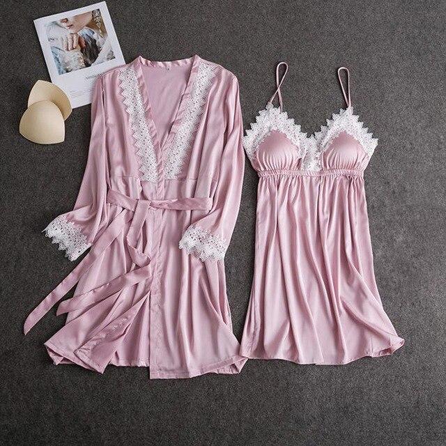 Frauen Sexy Spitze Kimono Bademantel Kleid Satin Feste Hochzeit Braut Brautjungfer Roben Nachtwäsche Spitze Rayon Weibliche Nachtwäsche Pyjamas