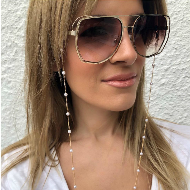 Fashion Women Gold Eyeglass Chains Sunglasses Reading Beaded Glasses Chain Eyewears Cord Holder Neck Strap Rope Eyewear Retainer