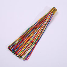 5 pcs/lot Hanging Rope 12cm Colorful Silk Tassel With Plate Long Fringe Pendant Finding Accessories for DIY Necklaces Jewelry