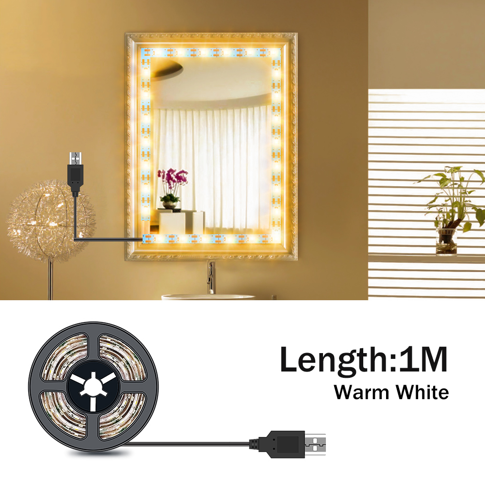 5M Tocador con espejo Makeup Mirror Light String USB 5V Dressing Table Bathroom Lamp Tape Led Vanity Mirror Make Up Light Strip 4
