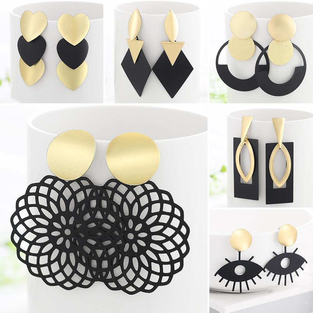 WYBU Summer Style Golden Drop Earrings For Women Geomatric Black Long Hanging Earring Triangle Bts Jewelry Earing bijouterie