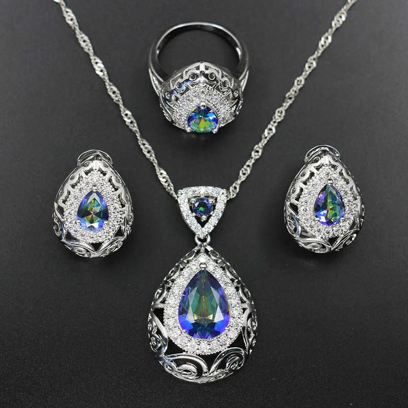 GZJY Women Multicolor Blue Crystal Jewelry Sets 925 Sterling Silver Stud Earrings Necklace Pendant Ring Wedding Bridal Party(China)