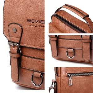 """Image 5 - Iş erkek omuz çantası PU deri erkek postacı çantası Retro erkekler Crossbody çanta 10.5 """"Ipad seyahat fermuar erkek çanta"""