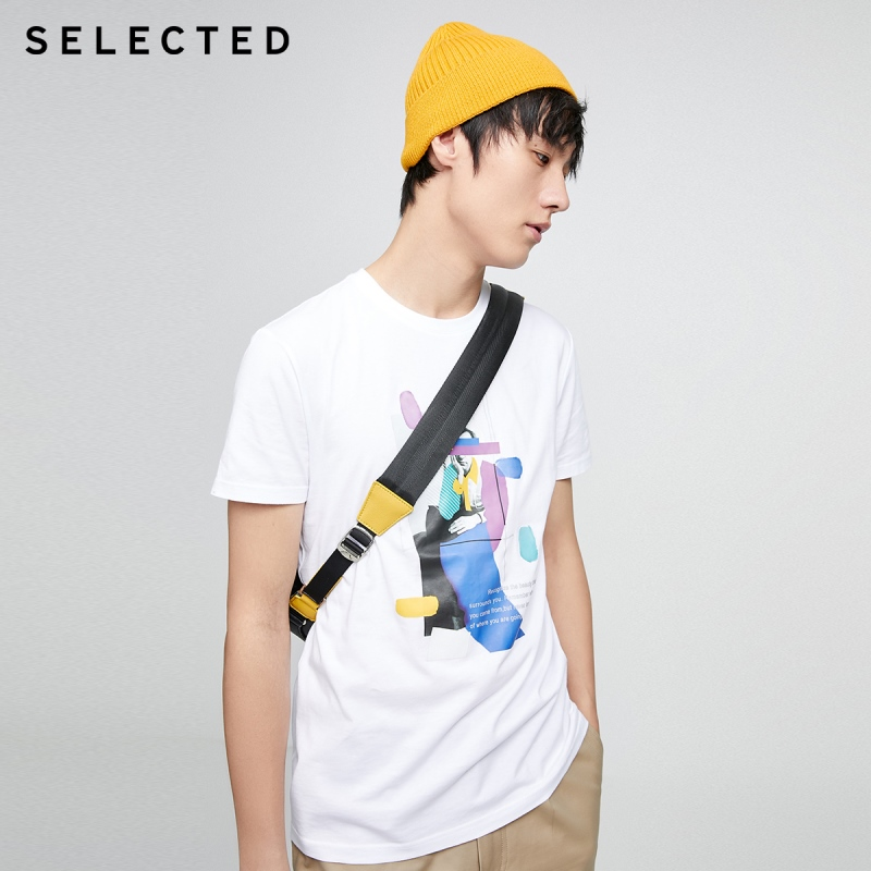 SELECTED Contrasting Abstract Portrait Print Short-sleeved T-shirt S|420201554