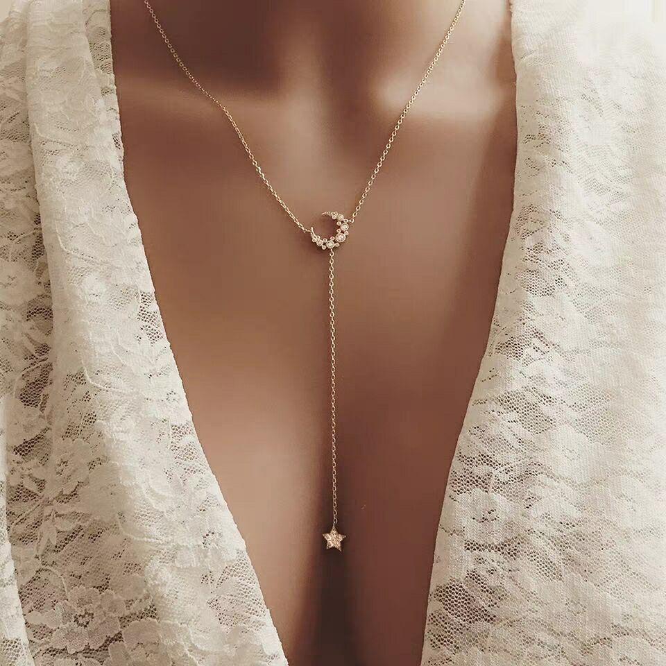 Новые поступления 925 Серебряная Звезда лунные Ожерелья & Подвески с cz вымощенное 3 цвета для женщин моды стерлингового серебра-ювелирные изделия